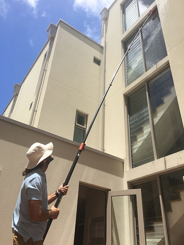 window cleaning with pure water machine